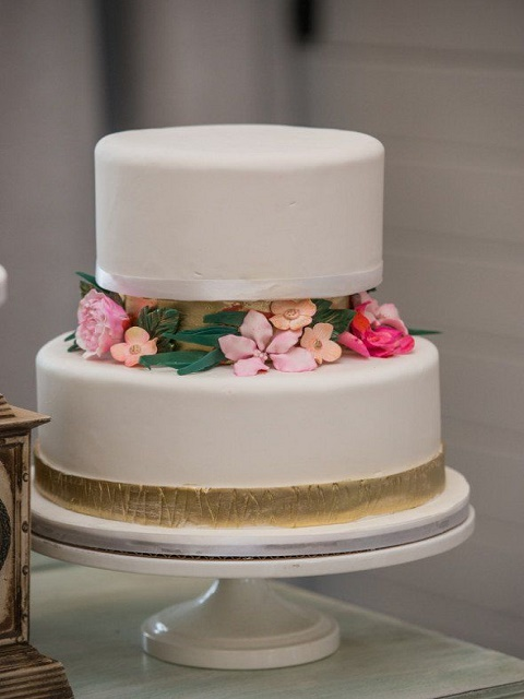 Two-tier detailed floral cake