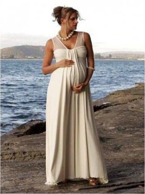 Chiffon V-Neck Sleeveless Empire A-Line Long Simple Maternity Wedding Dress