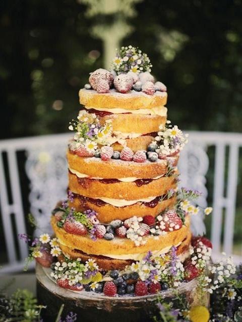 Super festive fruit and flowers naked cake