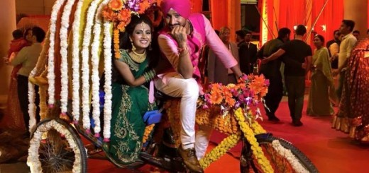 geeta basra and harbhajan singh at their sangeet ceremony