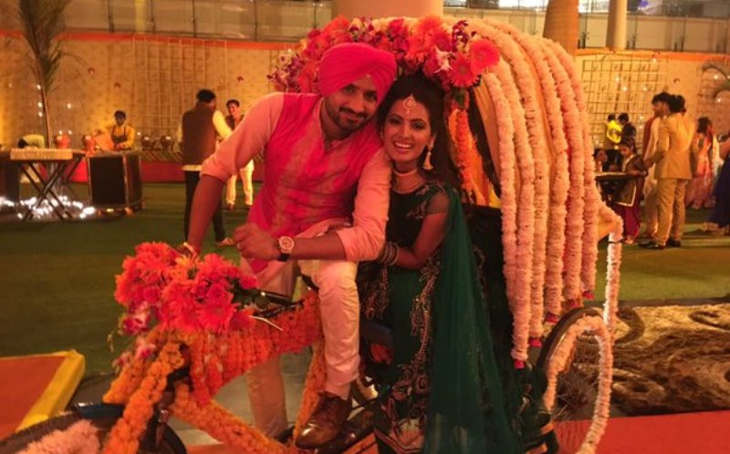 harbhajan singh and geeta basra at their sangeet ceremony