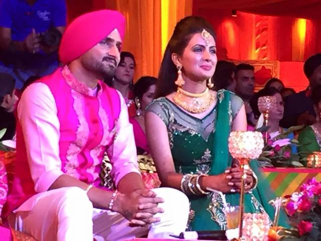 harbhajan singh and geeta basra at their sangeet ceremony1