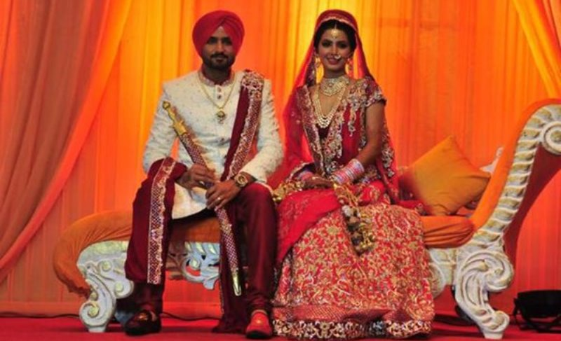 harbhajan singh and geeta basra at their wedding ceremony