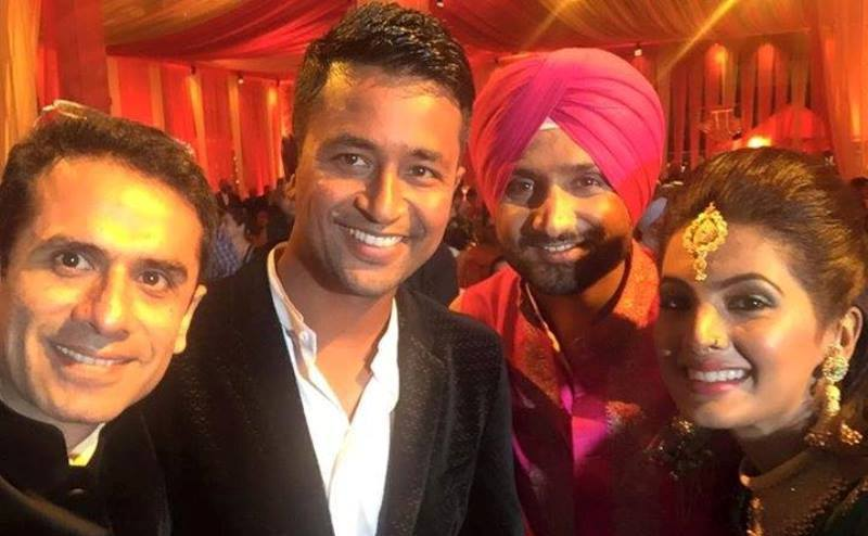 harbhajan singh and geeta basra with cricketer pragyan ojha