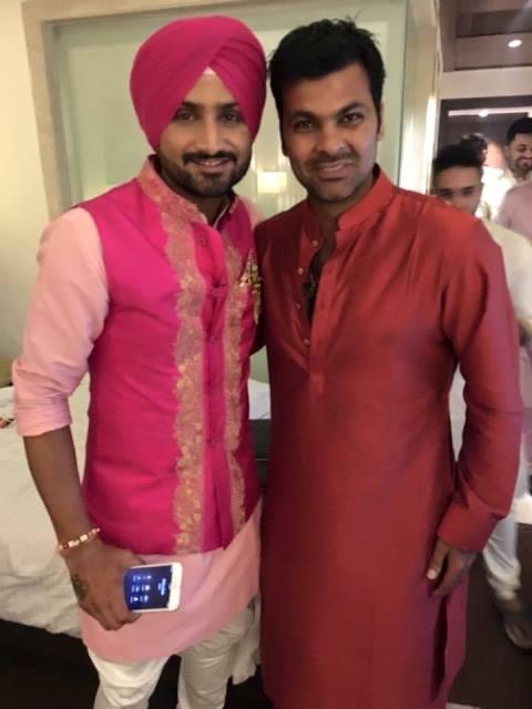 harbhajan singh with cricketer r p singh