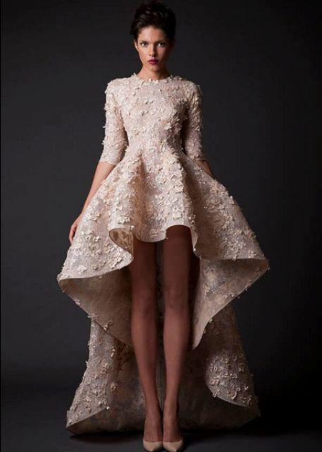 blush wedding dress stunning assymetrical_New_Love_Times