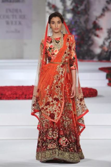 bridal lehengas flowery orange_New_Love_Times