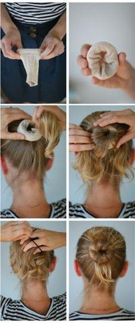 hair hacks hair donut with a sock_New_Love_Times