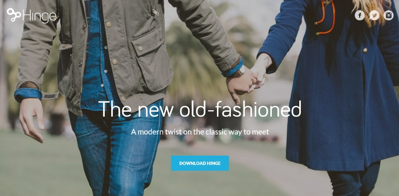 hinge dating app home page