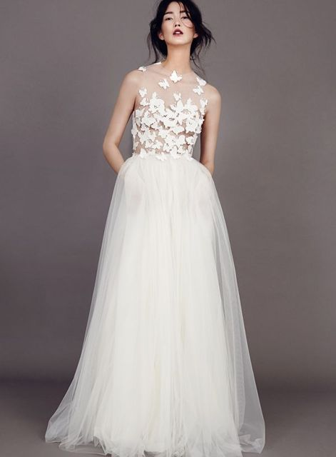 sheer wedding dress butterfly embroidered