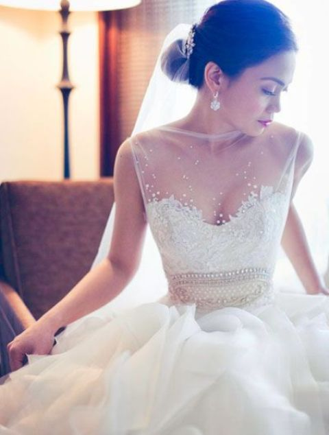 sheer wedding dress dreamy