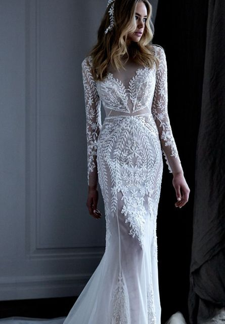 sheer wedding dress elegant