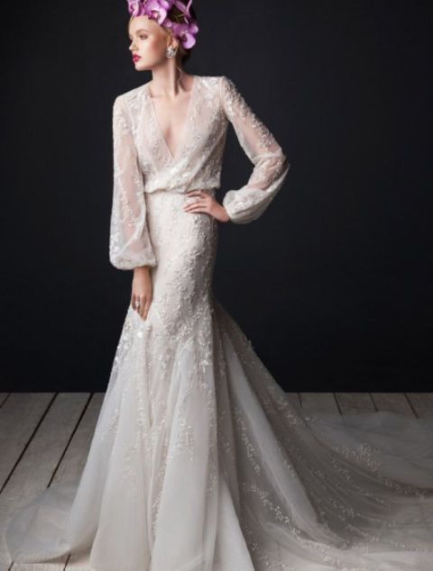 sheer wedding dress full sleeved