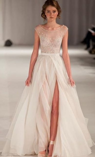 sheer wedding dress full