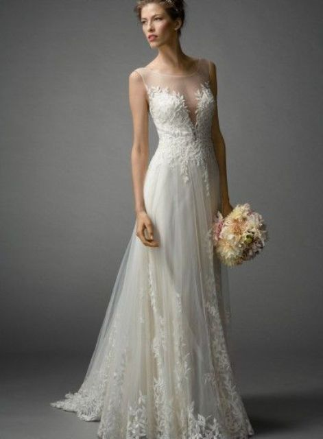 sheer wedding dress layered lace