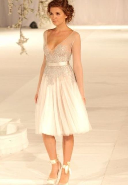 sheer wedding dress short