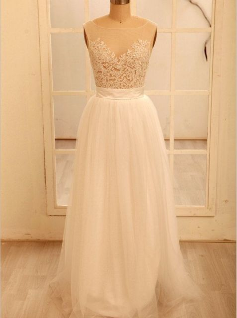 sheer wedding dress simple, elegant, chic