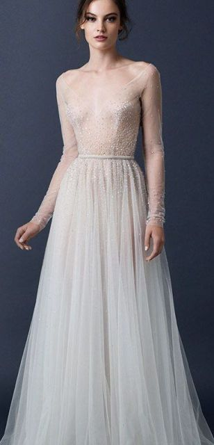 sheer wedding dress vintage cut