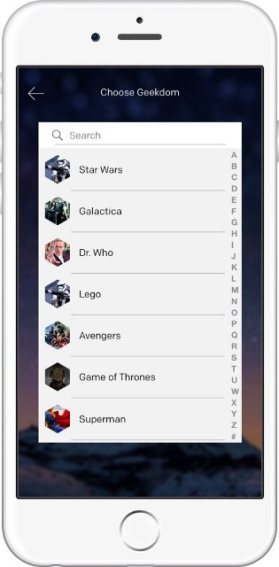 dragonfruit app page showing the various geekdoms a user can choose from_New_Love_Times