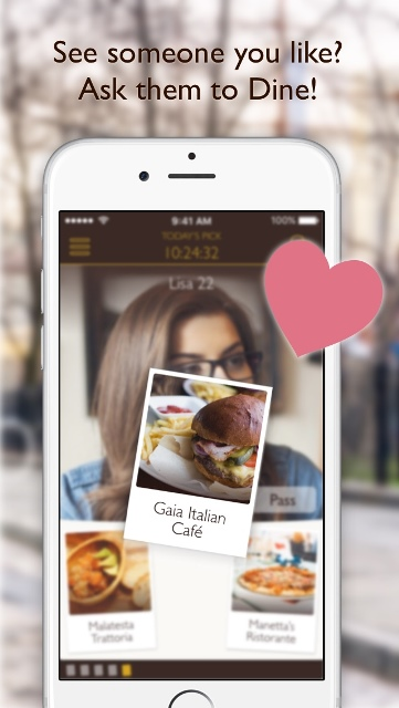 dine dating app page showing a user picking a restaurant for a date_New_Love_Times
