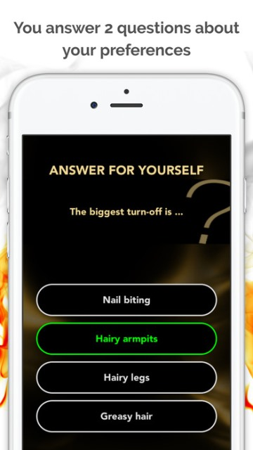 ipassion app page showing a question and possible answers_New_Love_Times